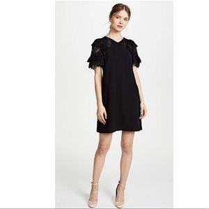 Rebecca Taylor Short Sleeve Crepe Lace Dress
